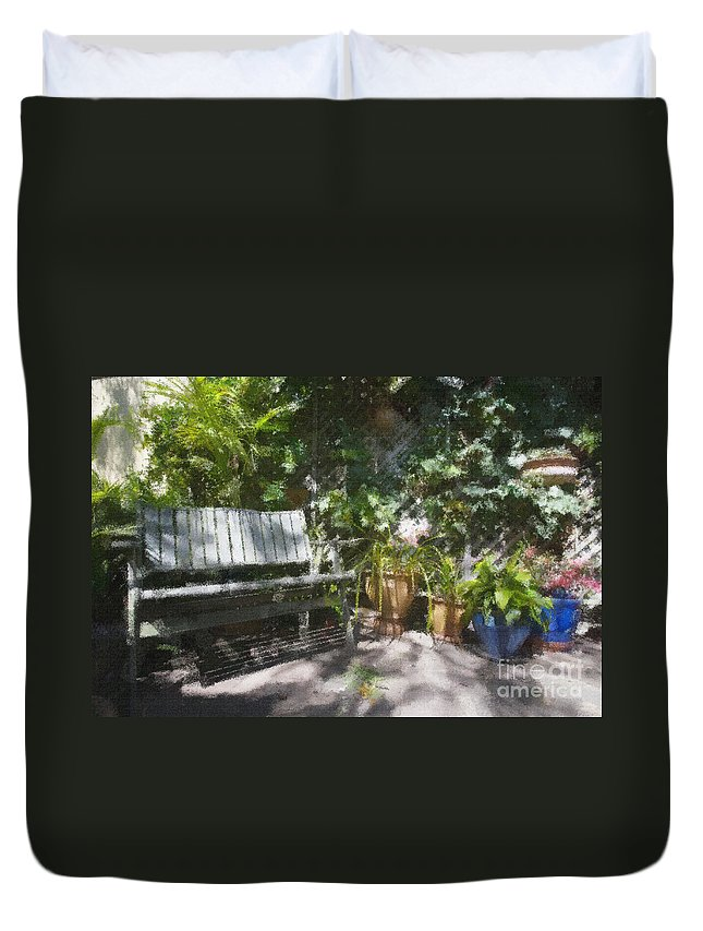 Garden Bench Flowers Impressionism Duvet Cover featuring the photograph Garden bench by Sheila Smart Fine Art Photography