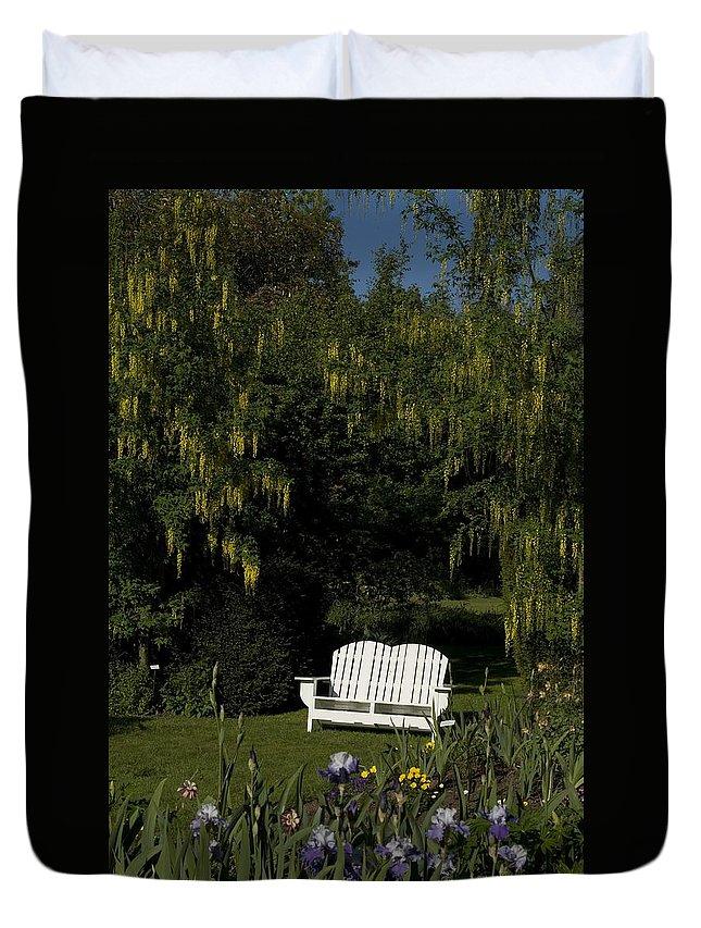 Garden Bench Duvet Cover featuring the photograph Garden Bench White by Sara Stevenson