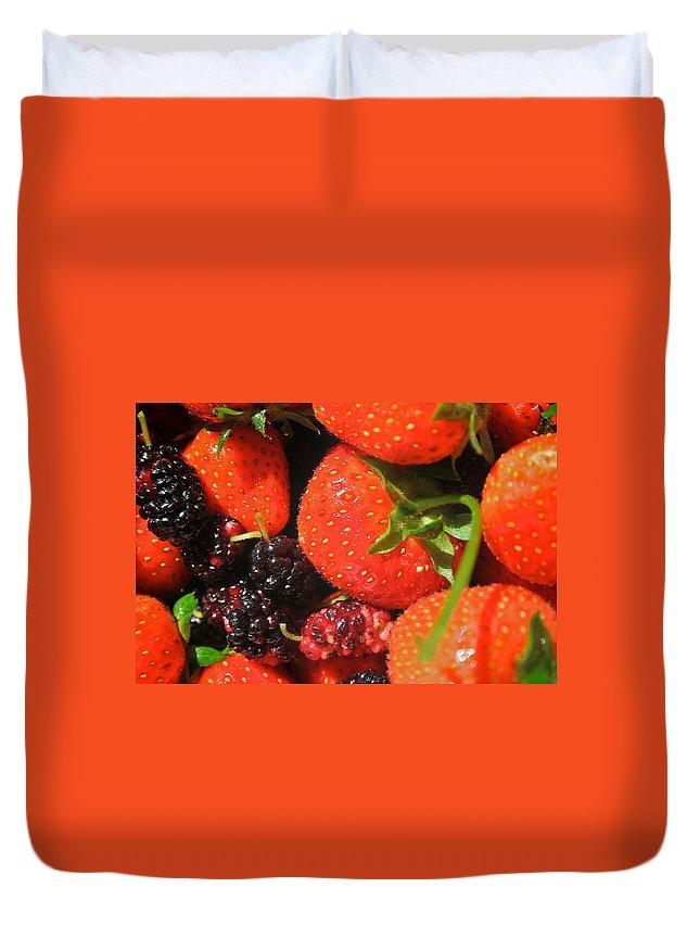 2010 Calendar Duvet Cover featuring the pyrography Garden Berries by Calvin Nelson