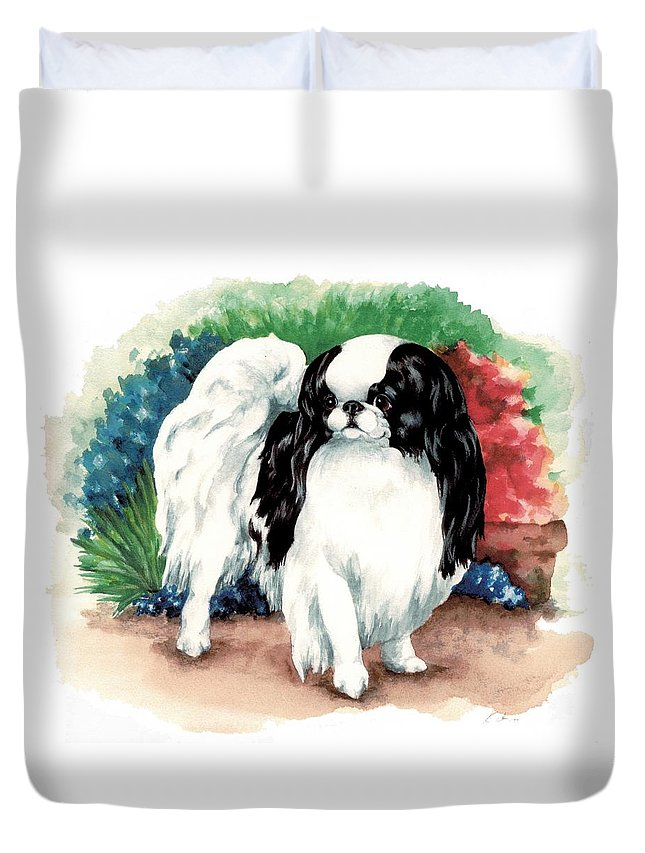 Japanese Chin Duvet Cover featuring the painting Garden Chin by Kathleen Sepulveda