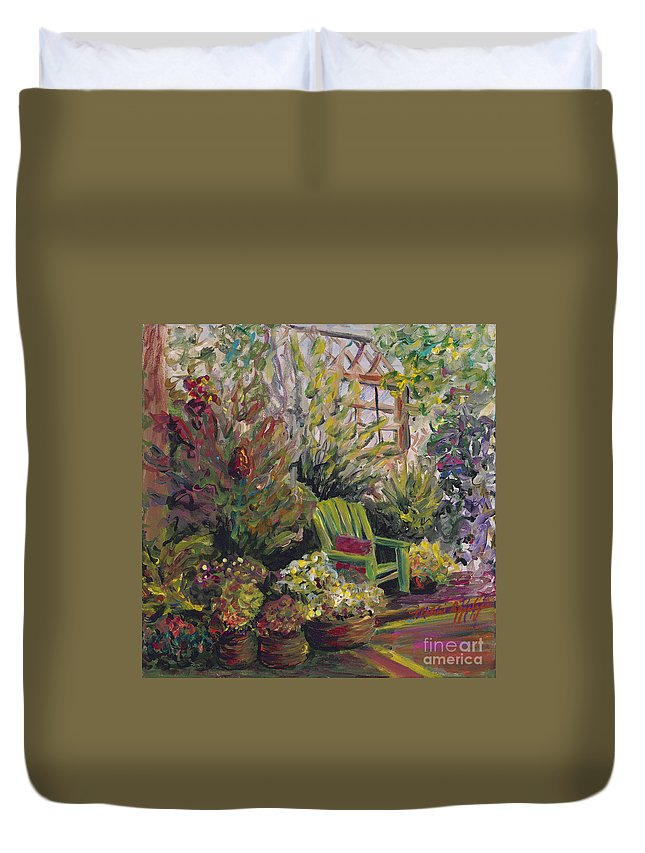 Green Duvet Cover featuring the painting Garden Escape by Nadine Rippelmeyer