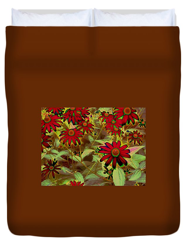 Flowers Duvet Cover featuring the photograph Garden Fireworks by Wayne Potrafka