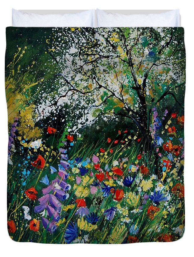Flowers Duvet Cover featuring the painting Garden Flowers by Pol Ledent