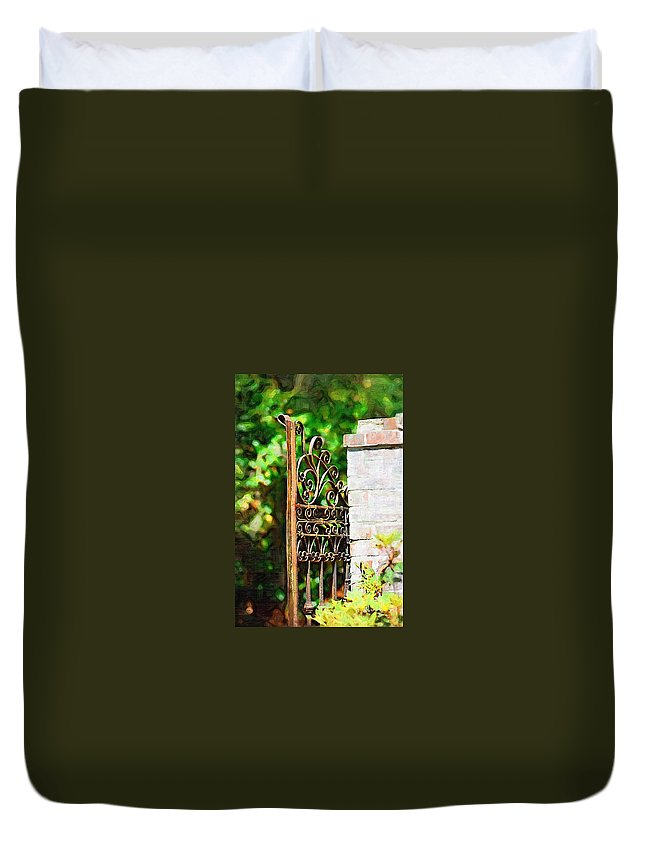 Gardens Duvet Cover featuring the photograph Garden Gate by Donna Bentley