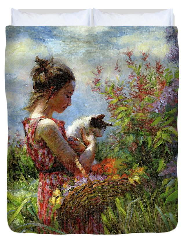 Garden Duvet Cover featuring the painting Garden Gatherings by Steve Henderson