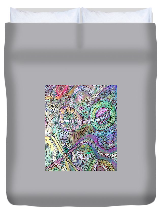 Abstract Duvet Cover featuring the painting Garden In The Sky by Wayne Potrafka