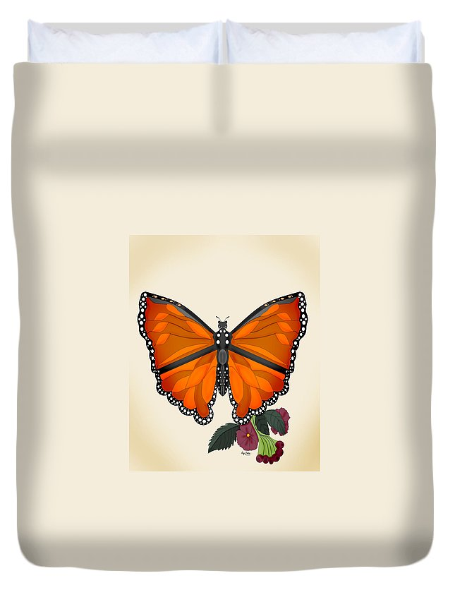 Butterfly Duvet Cover featuring the painting Garden Jewelry by Anne Norskog