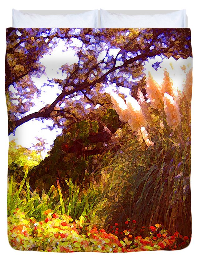 Landscapes Duvet Cover featuring the painting Garden Landscape by Amy Vangsgard