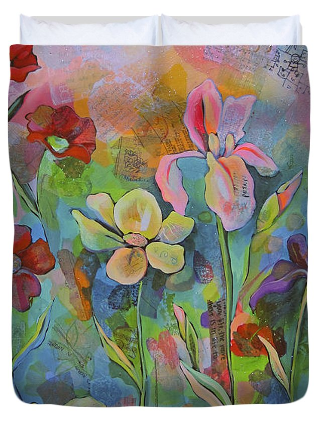 Garden Duvet Cover featuring the painting Garden Of Intention - Triptych Center Panel by Shadia Derbyshire