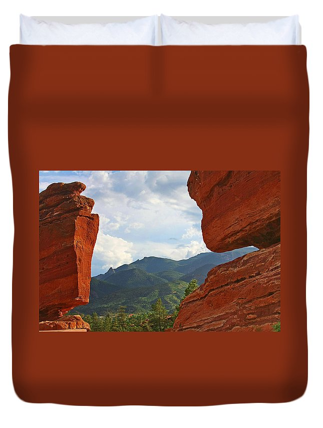 Steamboat Rock Duvet Cover featuring the photograph Garden Of The Gods - Colorado Springs by Christine Till