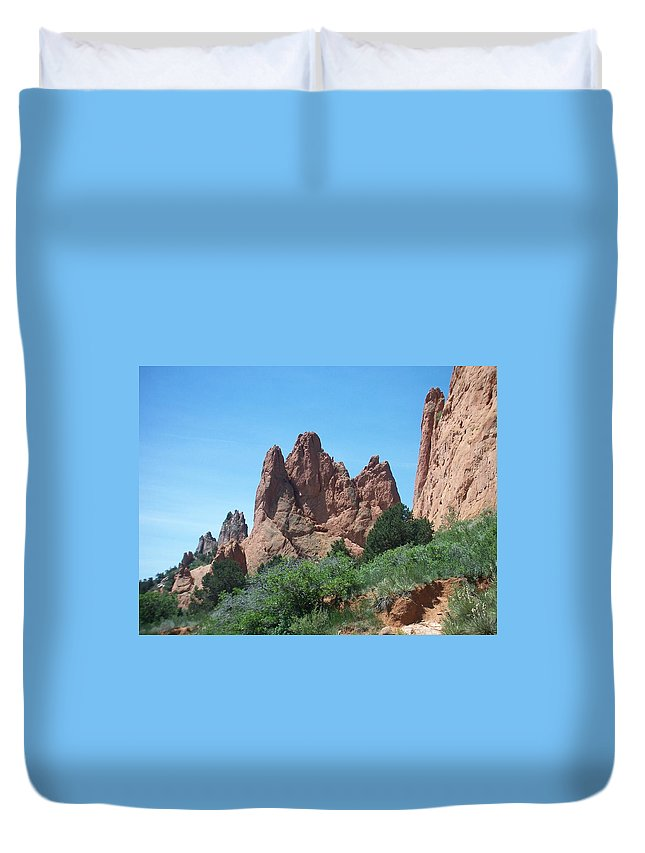 Colorado Duvet Cover featuring the photograph Garden Of The Gods 2 by Anita Burgermeister