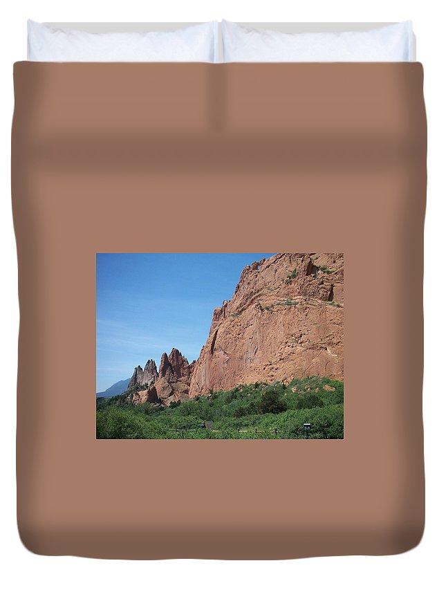 Colorado Duvet Cover featuring the photograph Garden Of The Gods by Anita Burgermeister