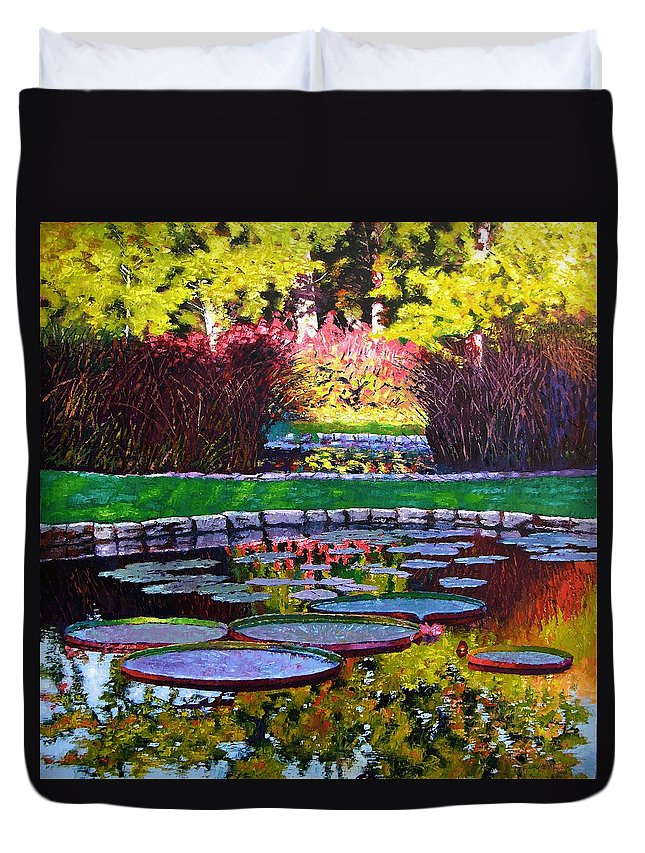 Garden Ponds Duvet Cover featuring the painting Garden Ponds - Tower Grove Park by John Lautermilch