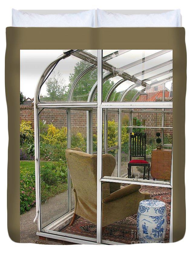 Garden Duvet Cover featuring the photograph Garden Sitting Room by Ann Horn