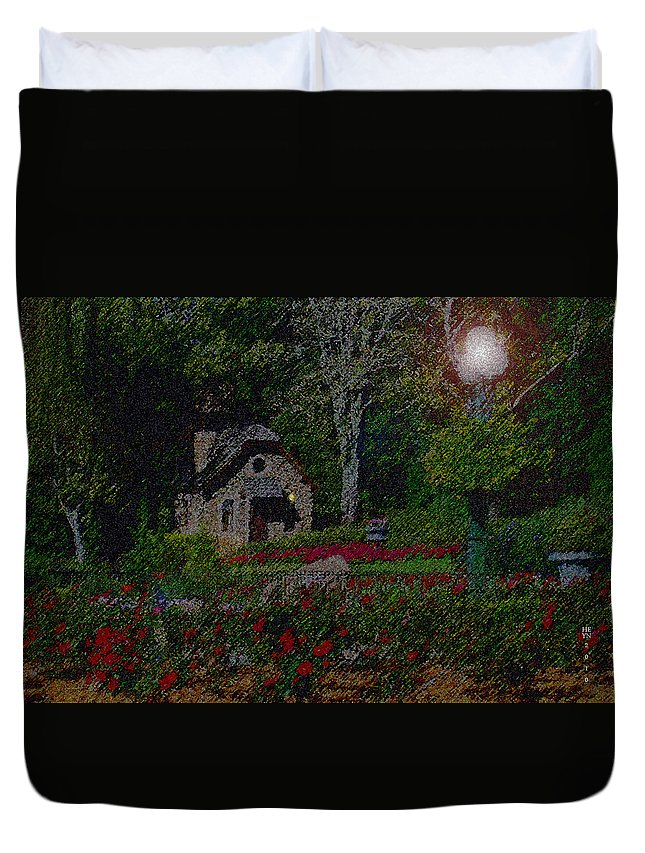 Dusk Duvet Cover featuring the mixed media Garden Sleeping by Shirley Heyn