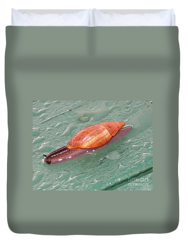 Green Duvet Cover featuring the photograph Garden Snail 4 by Mary Deal