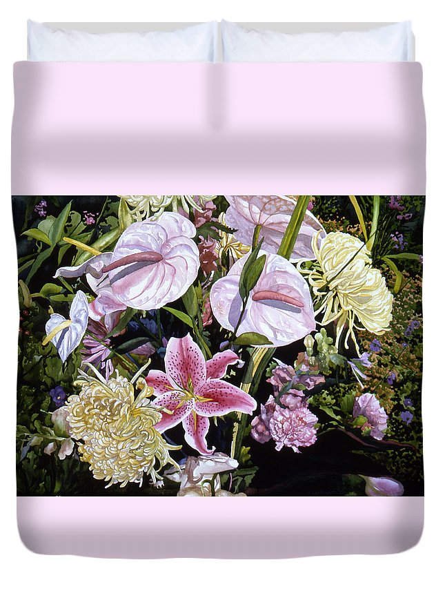 Watercolor Duvet Cover featuring the painting Garden Song by Teri Starkweather