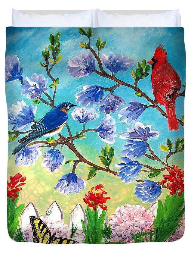 Spring Duvet Cover featuring the painting Garden View Birds And Butterfly by Patricia L Davidson