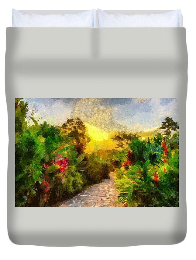 Garden Duvet Cover featuring the digital art Garden Walk by Ronald Bolokofsky