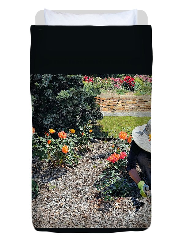 Roses Duvet Cover featuring the photograph Gardener Pulling Weeds by Janette Boyd