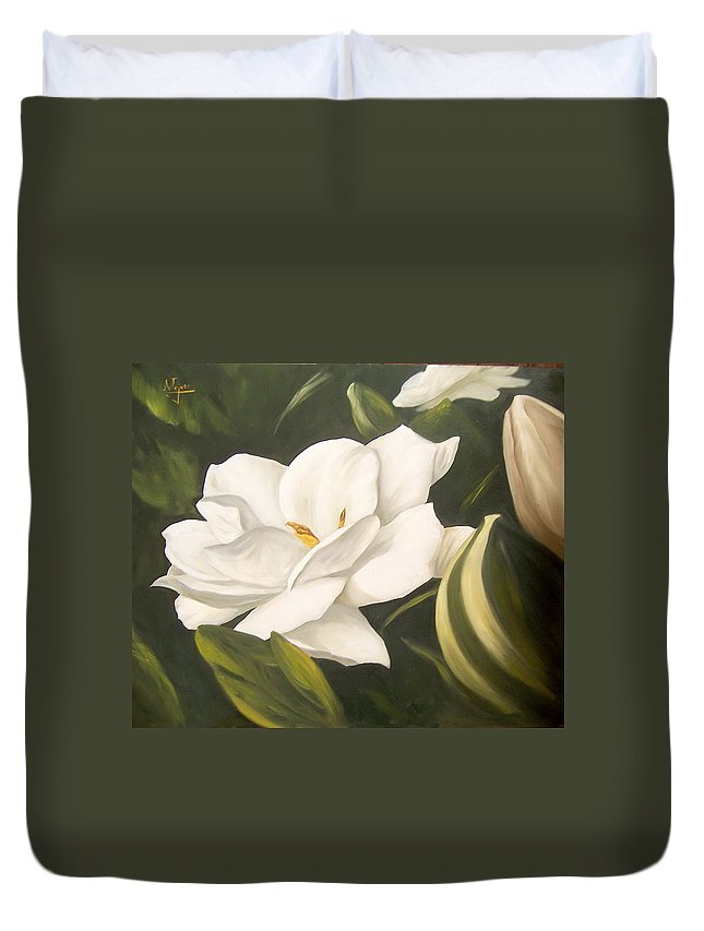 Gardenia Flower Duvet Cover featuring the painting Gardenia by Natalia Tejera