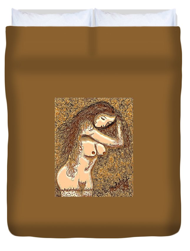 Nude Duvet Cover featuring the painting Gardenia by Natalie Holland