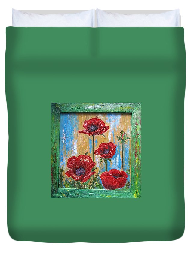 Nature Duvet Cover featuring the painting Gardens Poppy by Stella Velka