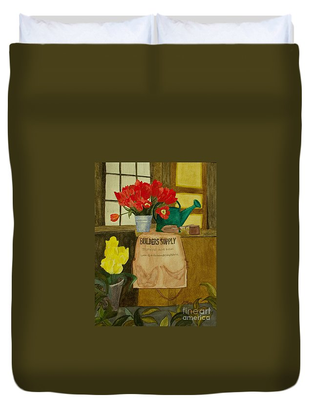 Tulips Duvet Cover featuring the painting Gardner by Louise Magno