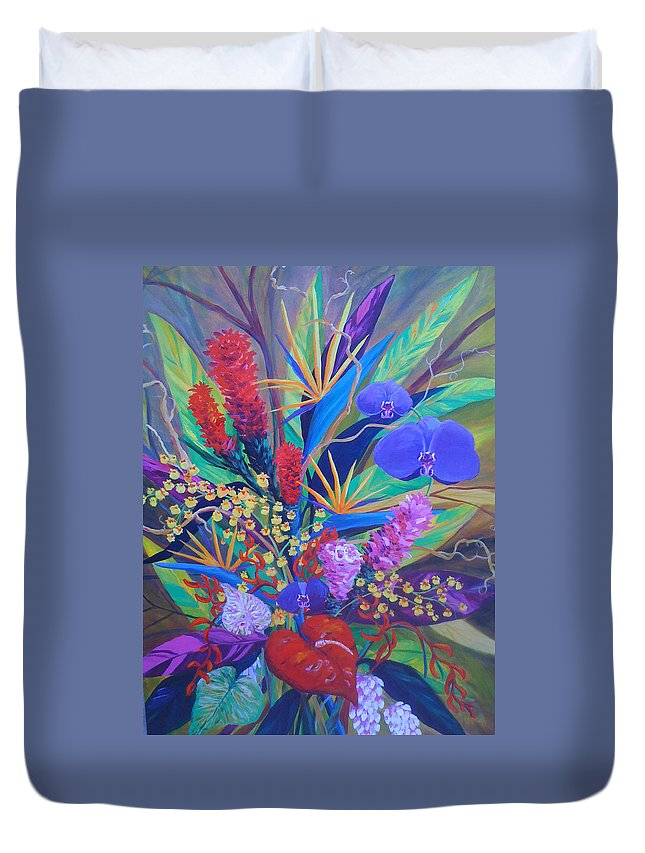 Anthuriums Duvet Cover featuring the painting Gardner Tropicals by Anne Marie Brown