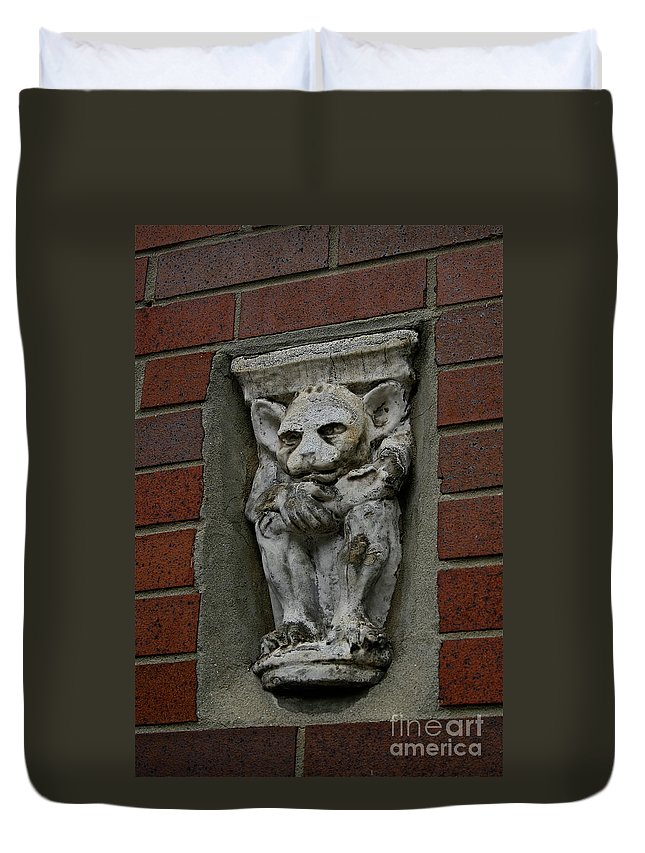Gargoyle Duvet Cover featuring the photograph Garg by Rick Monyahan
