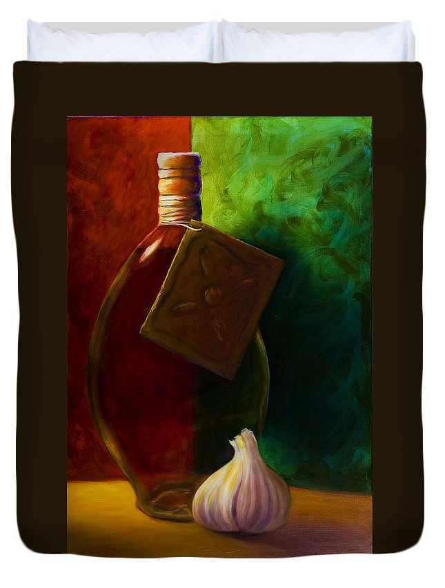 Shannon Grissom Duvet Cover featuring the painting Garlic And Oil by Shannon Grissom