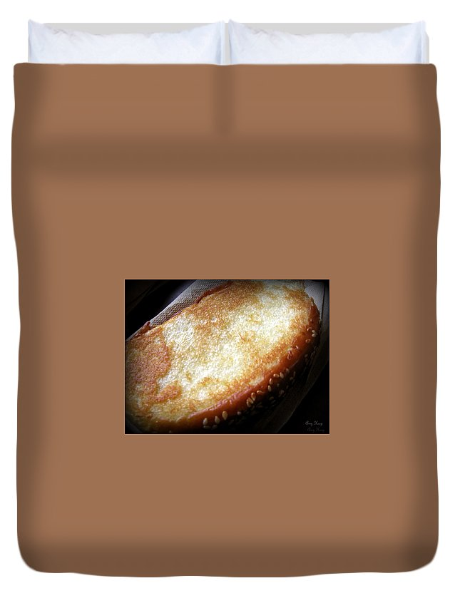 Garlic Bread Duvet Cover featuring the photograph Garlic Bread by Amy Hosp