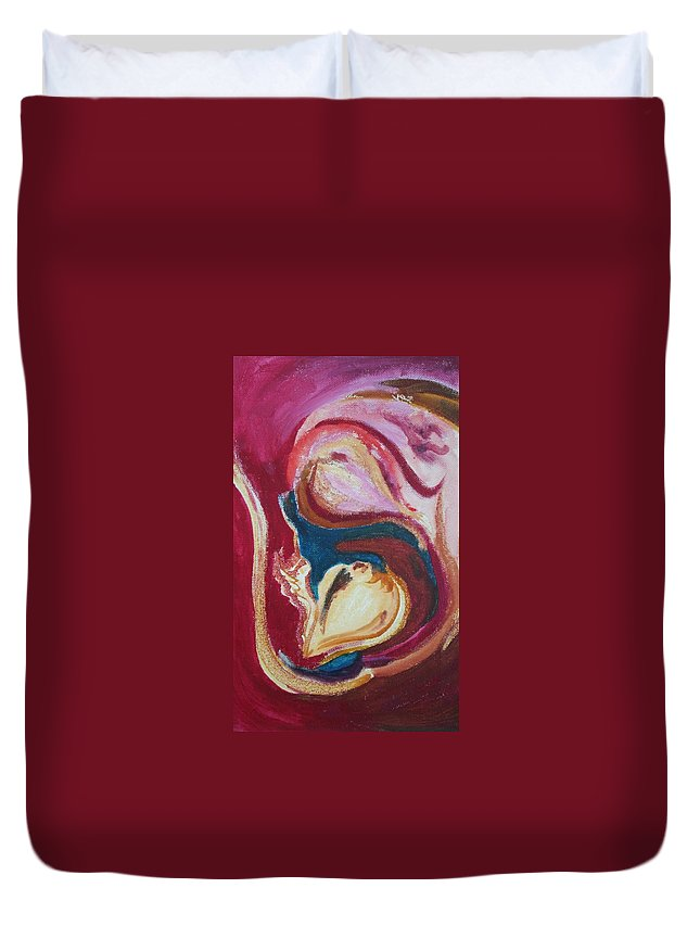 Oil Painting Duvet Cover featuring the painting Garlic by Suzanne Udell Levinger