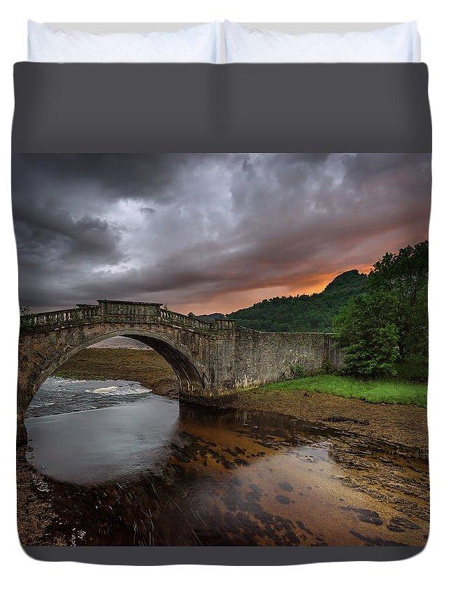 Scotland Duvet Cover featuring the photograph Garron Bridge Sunset by Swen Stroop