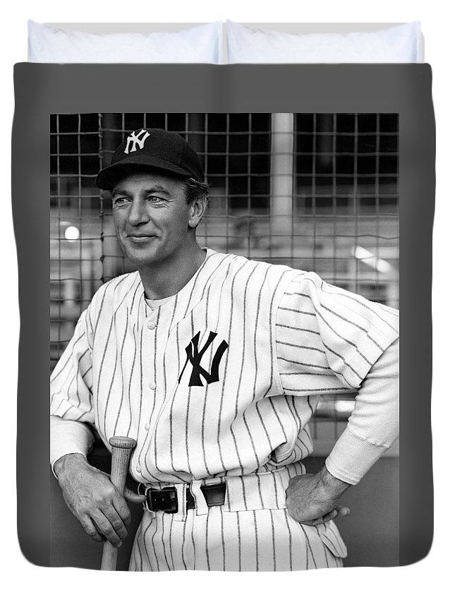 Publicity Photo Duvet Cover featuring the photograph Gary Cooper As Lou Gehrig In Pride Of The Yankees 1942 by Mountain Dreams