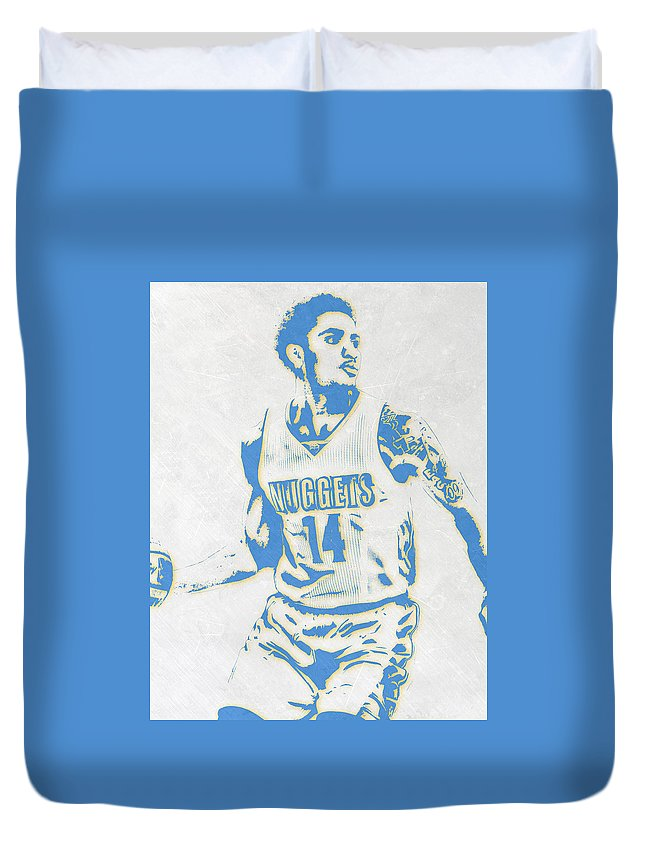 Gary Harris Duvet Cover featuring the mixed media Gary Harris Denver Nuggets Pixel Art by Joe Hamilton