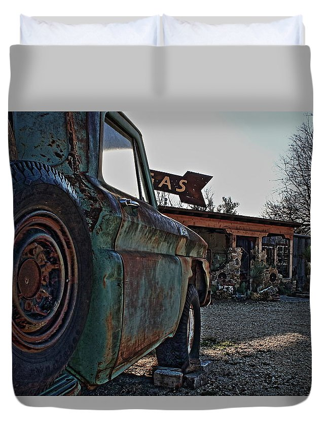 Gas Duvet Cover featuring the photograph Gas And Truck by Daniel Koglin