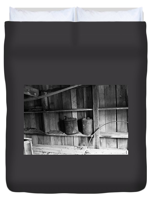 Gas Duvet Cover featuring the photograph Gas Cans by Douglas Barnett
