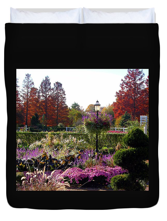 Gas Lamp Duvet Cover featuring the photograph Gas Lamp In Garden by John Lautermilch