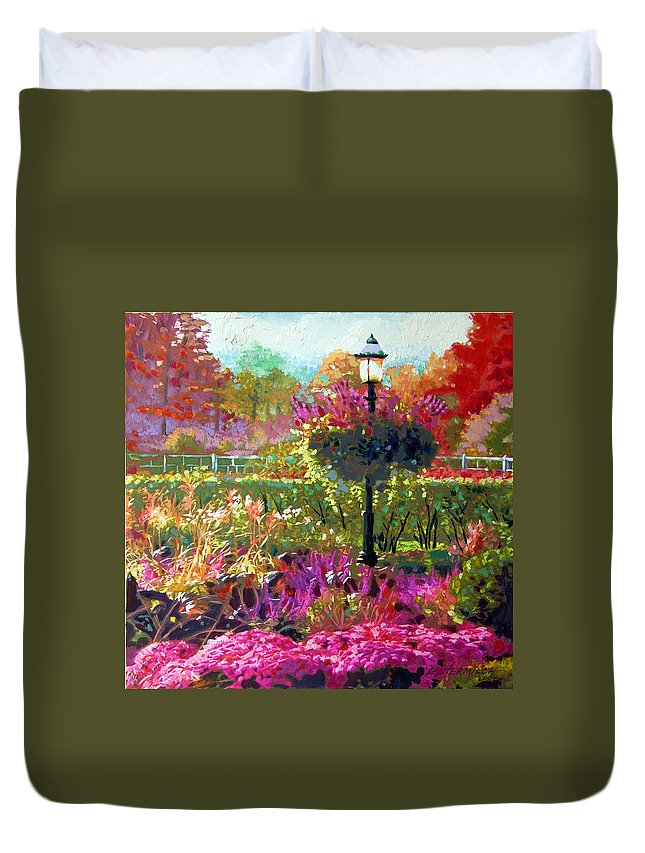 Landscape Duvet Cover featuring the painting Gas Light in the Garden by John Lautermilch