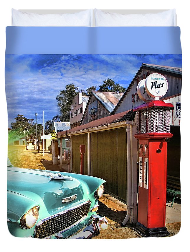 Old Duvet Cover featuring the photograph Gas Stop by Douglas Barnard