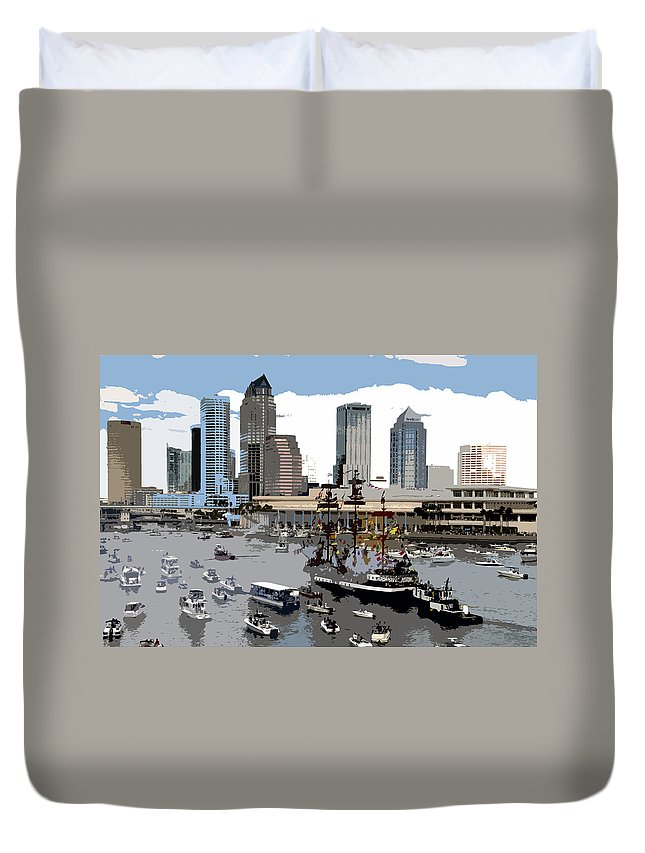 Gasparilla Pirate Invasion Duvet Cover featuring the painting Gasparilla Invasion Work Number 6 by David Lee Thompson