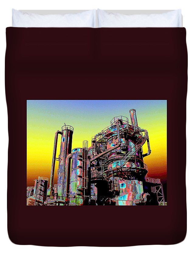 Seattle Duvet Cover featuring the digital art Gasworks Park 1 by Tim Allen