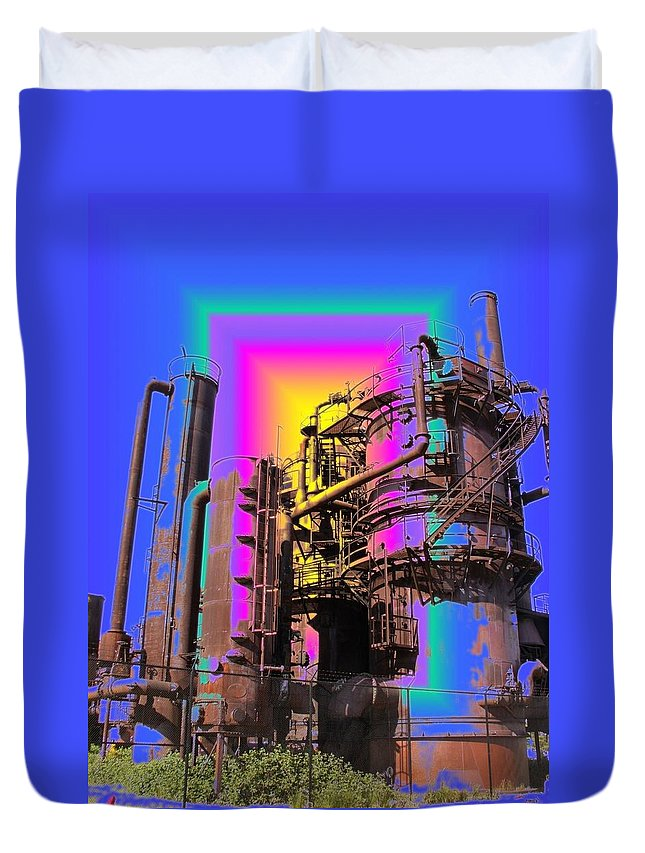 Seatttle Duvet Cover featuring the digital art Gasworks Park 2 by Tim Allen