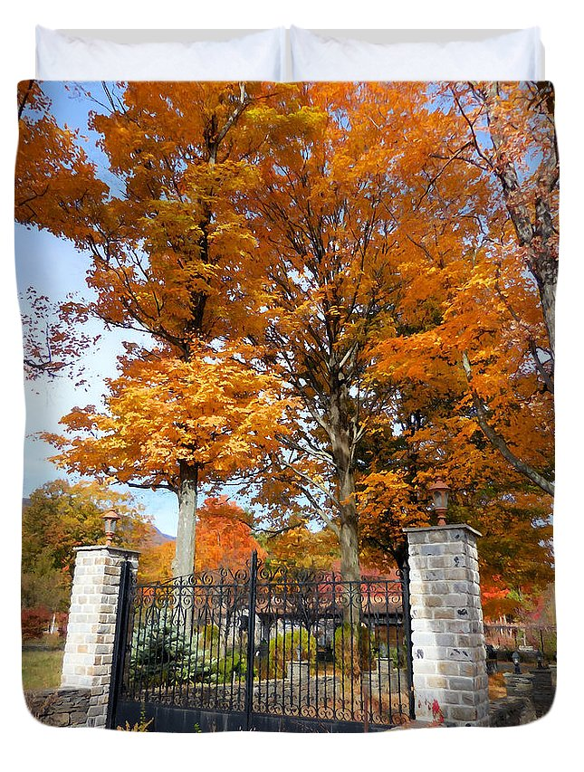 Gate And Driveway Duvet Cover featuring the painting Gate And Driveway by Jeelan Clark