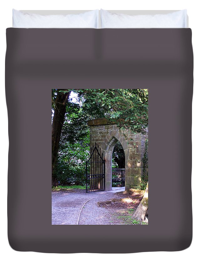 Irish Duvet Cover featuring the photograph Gate At Cong Abbey Cong Ireland by Teresa Mucha