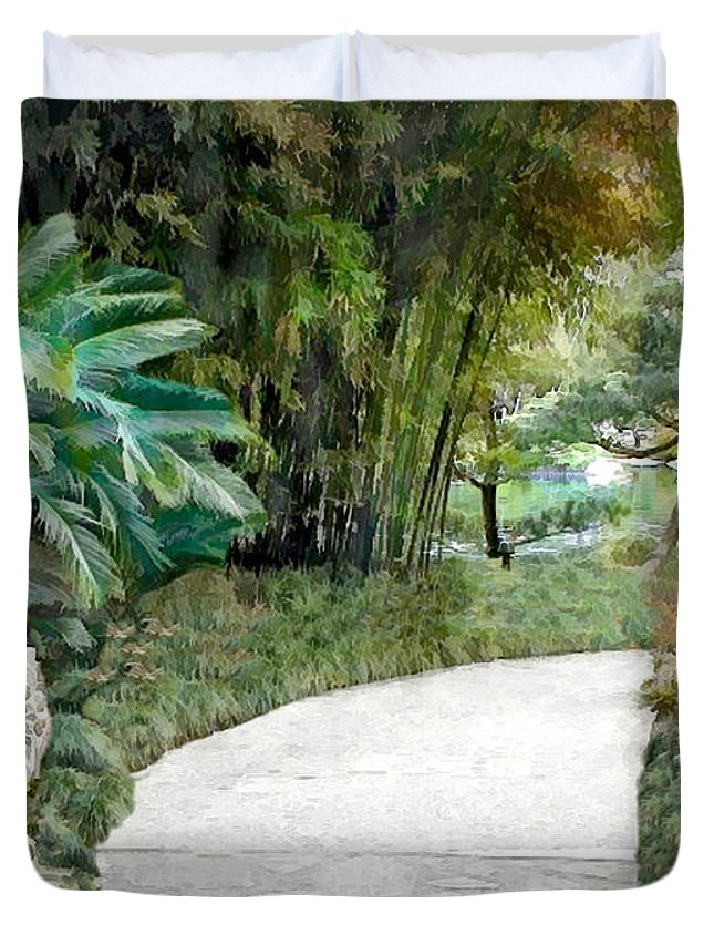 Japanese Garden Duvet Cover featuring the painting Gate Guards Against Evil Spirits by Elaine Plesser
