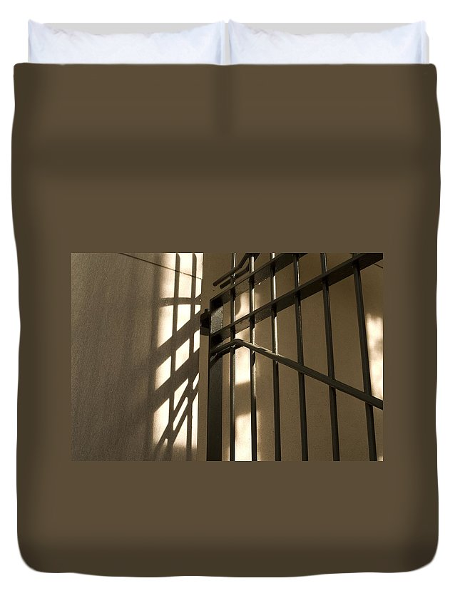 Lines Duvet Cover featuring the photograph Gate Shadow by Sara Stevenson