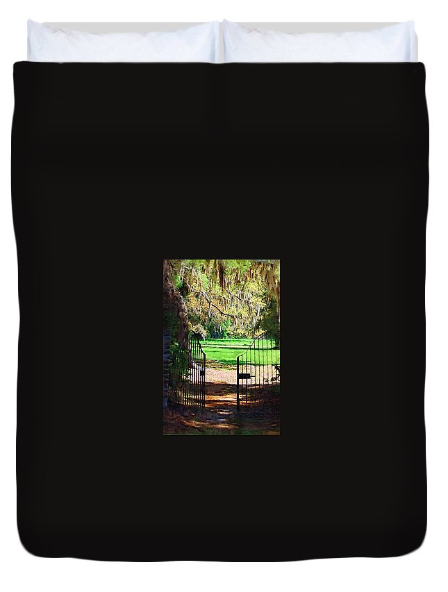 Gate Duvet Cover featuring the photograph Gate To Heaven by Donna Bentley