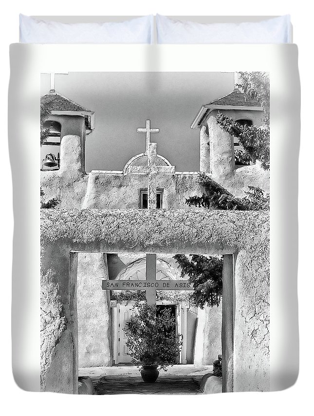 Santa Duvet Cover featuring the photograph Gate To Ranchos Church Black And White by Charles Muhle
